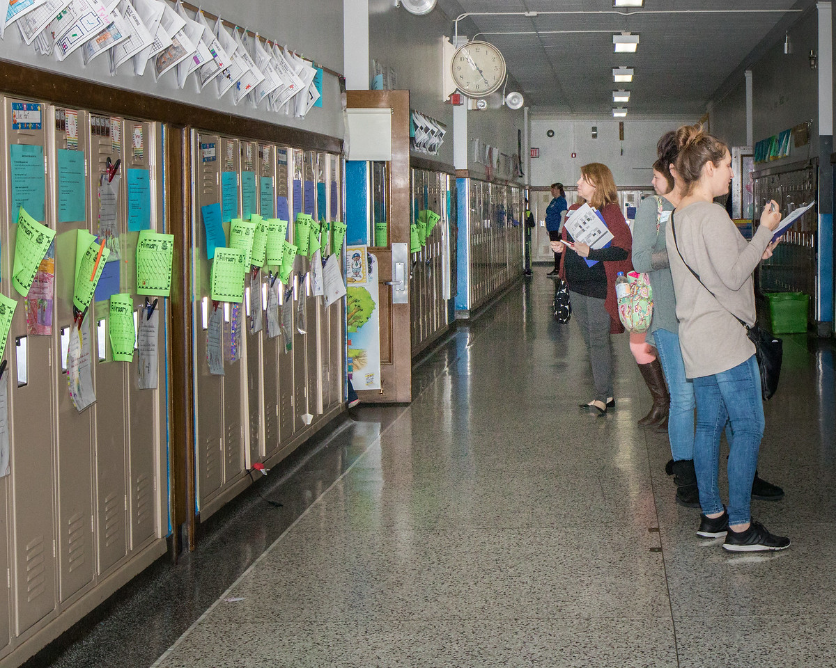 Leadership Day participants were encouraged to explore the building to view student work and see how the 7 Habits are practiced in the classrooms. Photo by Debbie Malyn.