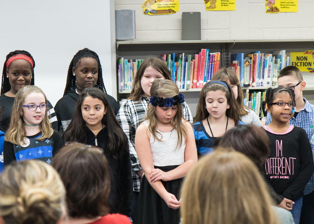 . The Whitmore-Bolles Eagle Chorus gets ready to perform their song about the 7 Habits. Photo by Debbie Malyn.