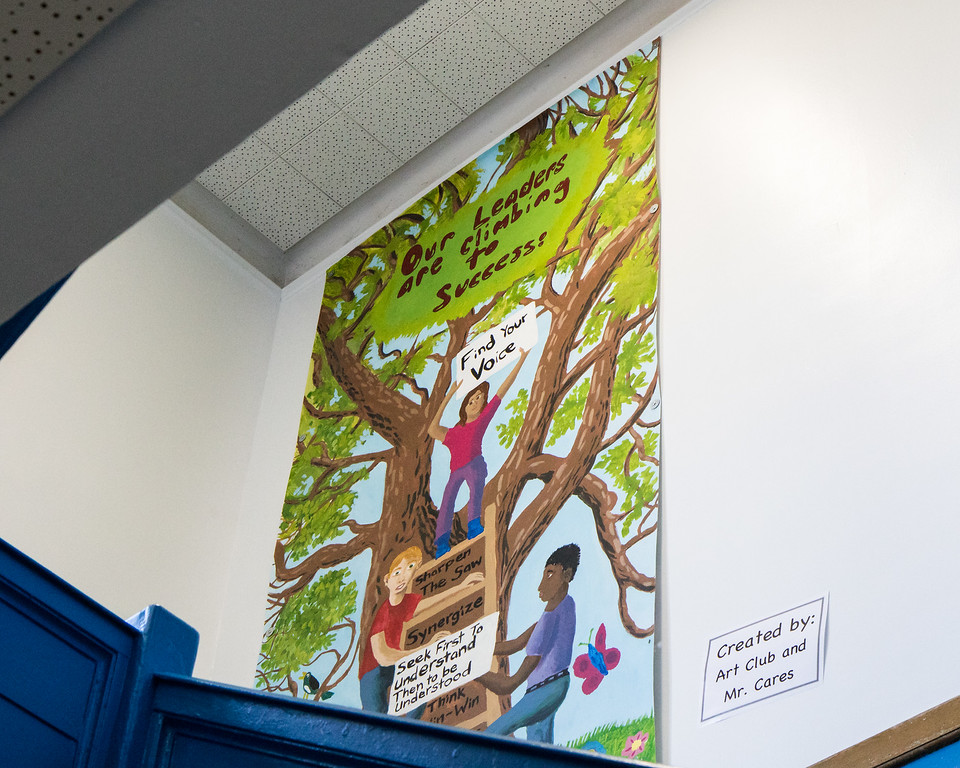 . Student artwork throughout the building helps to reinforce the leadership culture at Whitmore. Photo by Debbie Malyn.