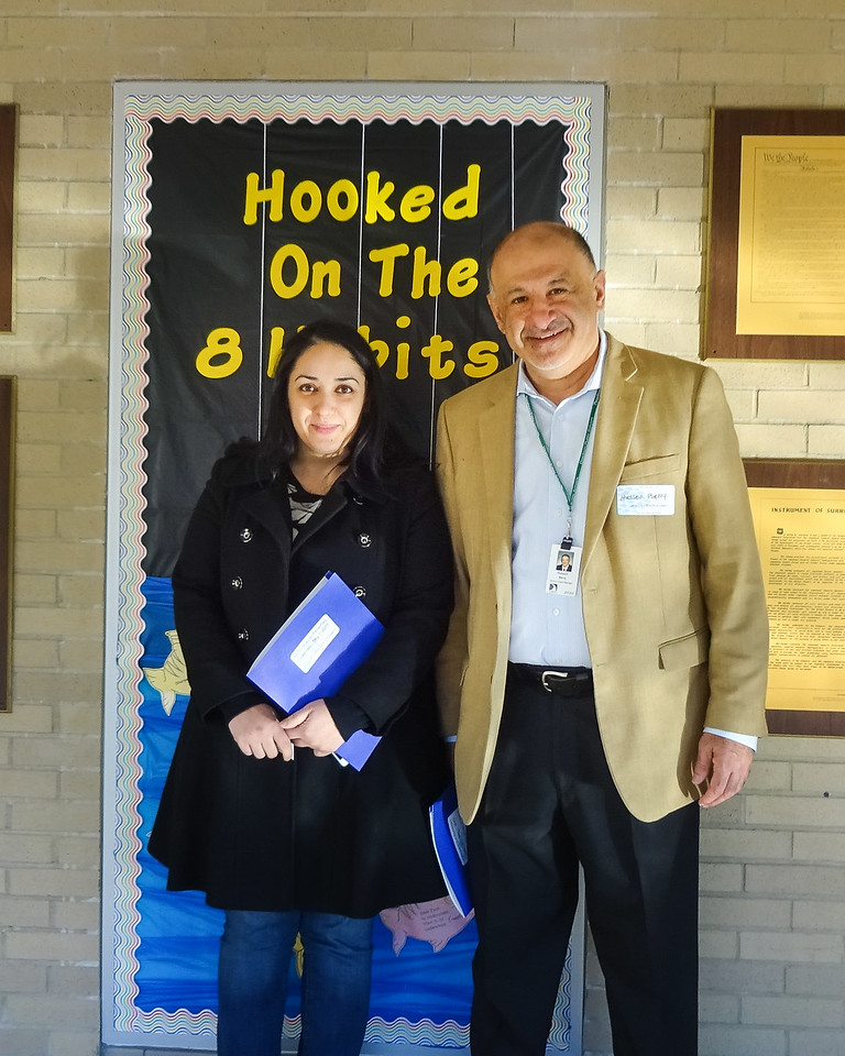 Dearborn PTA Council President Nofila Haidar and School Board Trustee Hussein Berry. Photo by student Broadcast Club member Lily Majcher.
