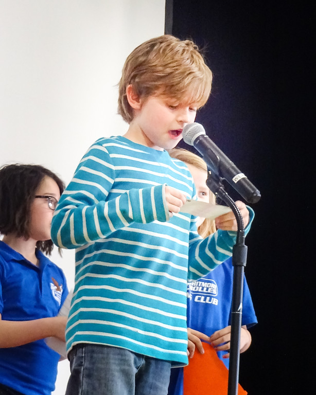 . After meeting in mixed grade groups for Habit Time, Students share insights from their group at a school wide, student led assembly. This month\'s topic was Habit 5: Seek first to understand, then to be understood. Photo by student Broadcast Club member Lily Majcher.