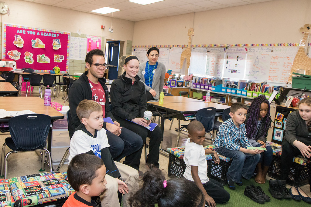 . Leadership Day participants visited classrooms during Habit Time. Photo by Debbie Malyn.