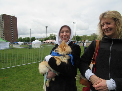 Tiffany Shanks, with her mother and canine, Autumn, attend the Mutt Strut May 14.   Photo by Micah Walker