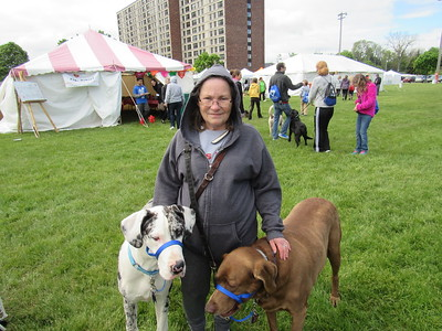 Diane Ward poses with her dogs Sugarfoot and Danny at the Mutt Strut May 14.