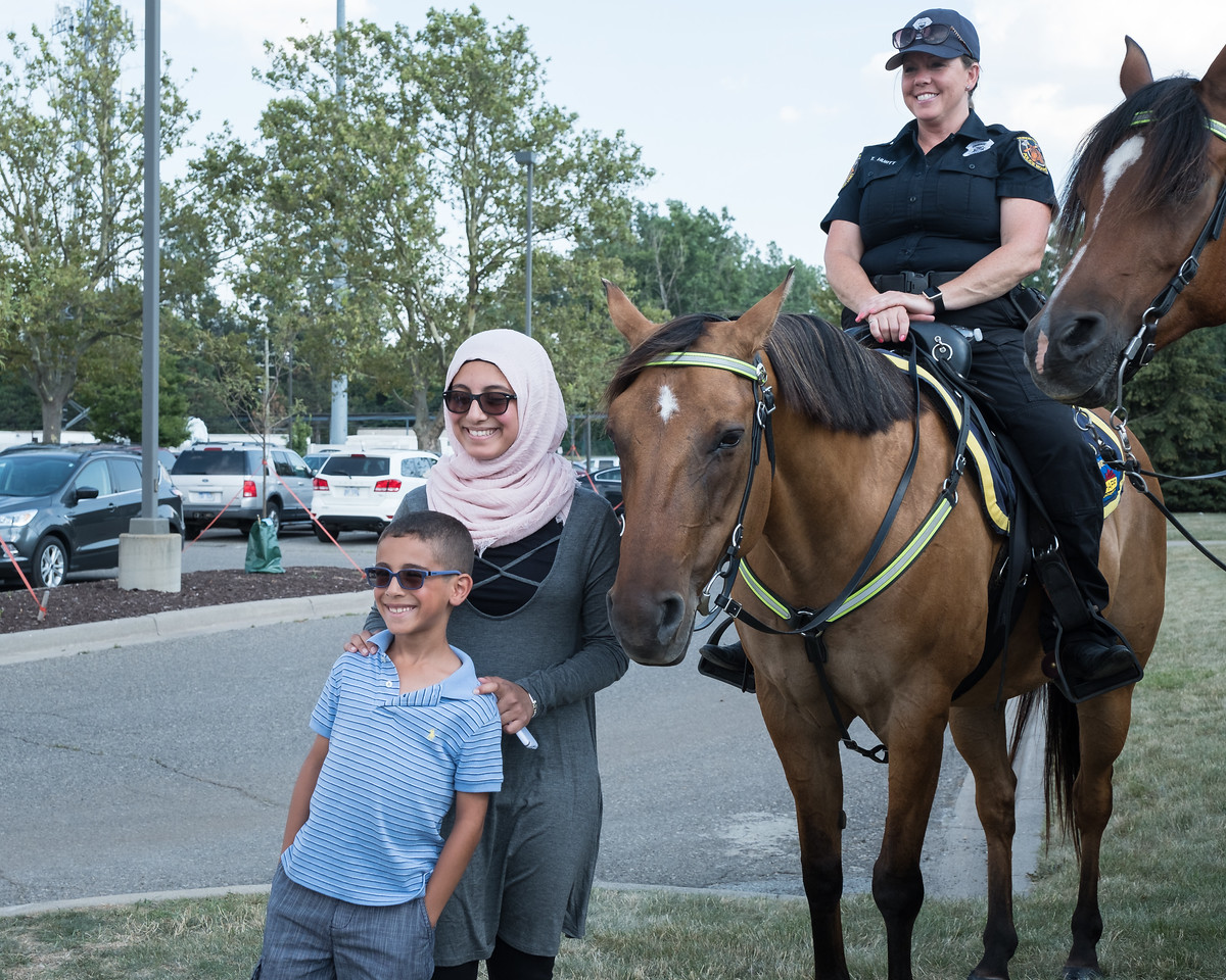 """The Dearborn Police Department held its annual National Night Out on crime event on Tuesday, August 1, 2017 at the Dearborn Police Department. This free event was sponsored by Target stores located in Dearborn and the Dearborn Police Department. The Dearborn event is held in conjunction with National Night Out, sponsored by the National Association of Town Watch, a neighborhood crime and drug prevention event that occurs annually on the first Tuesday in August. In addition to increasing awareness of crime prevention programs, National Night Out also strengthens neighborhood spirit and community-police partnerships, while sending a message to criminals that """"neighborhoods are organized, working with police and are fighting back against crime!""""  Photo by Debbie Malyn for the Press & Guide."""