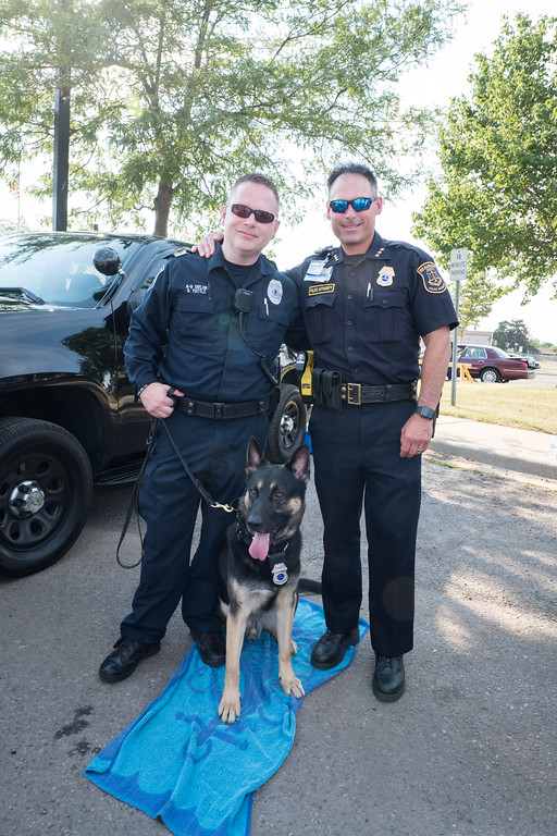 . Beaumont Security Officers Scott Tuttle and William Leavens with K-9 dog Taylor. Photo by Debbie Malyn for the Press & Guide.