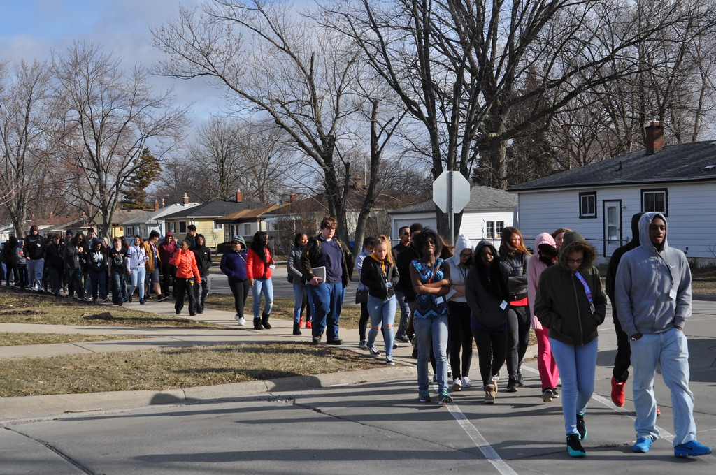 . Annapolis High School students take part in the National School Walkout on Wednesday morning. Photo by Karen Hain -- For The Press & Guide