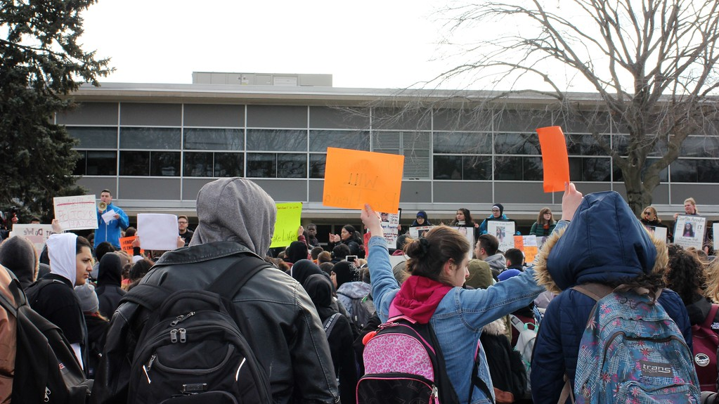 . Dearborn High School students take part in the National School Walkout on Wednesday morning. Photo by Sue Suchyta -- For The Press & Guide