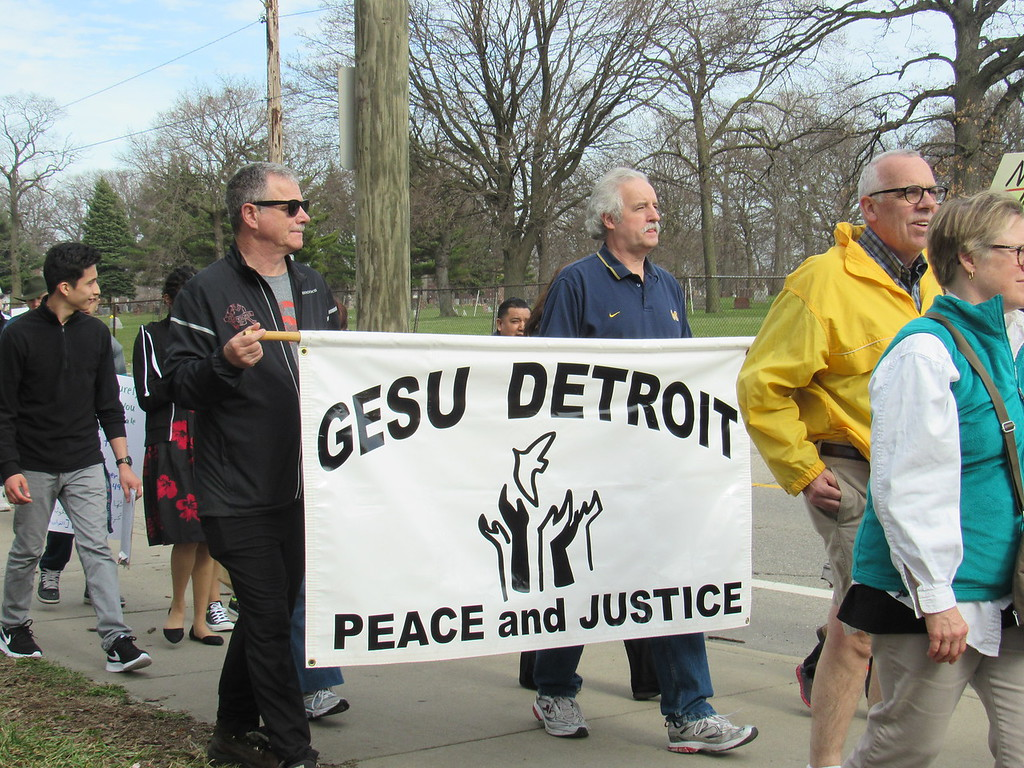 . Members of Gesu Catholic Church in Detroit showed their support at the Neighbors Building Bridges march.