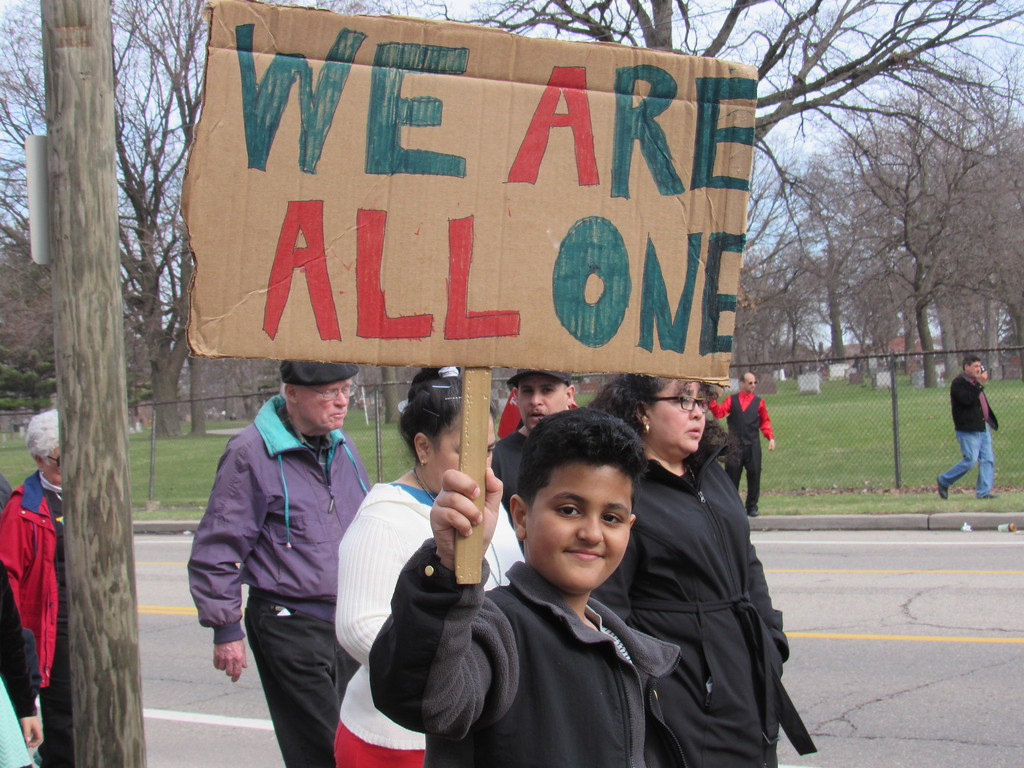 . Many children were in attendance at the Neighbors Building Bridges march Sunday, April 2.