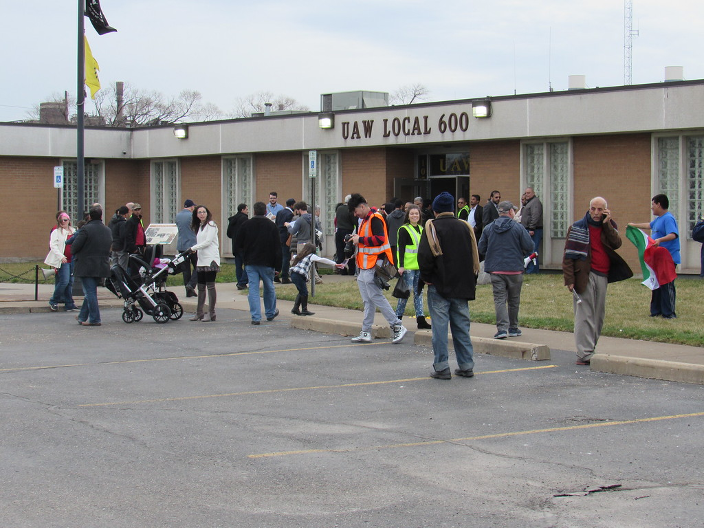 . The march ended with a reception at the UAW Local 600 in Dearborn.