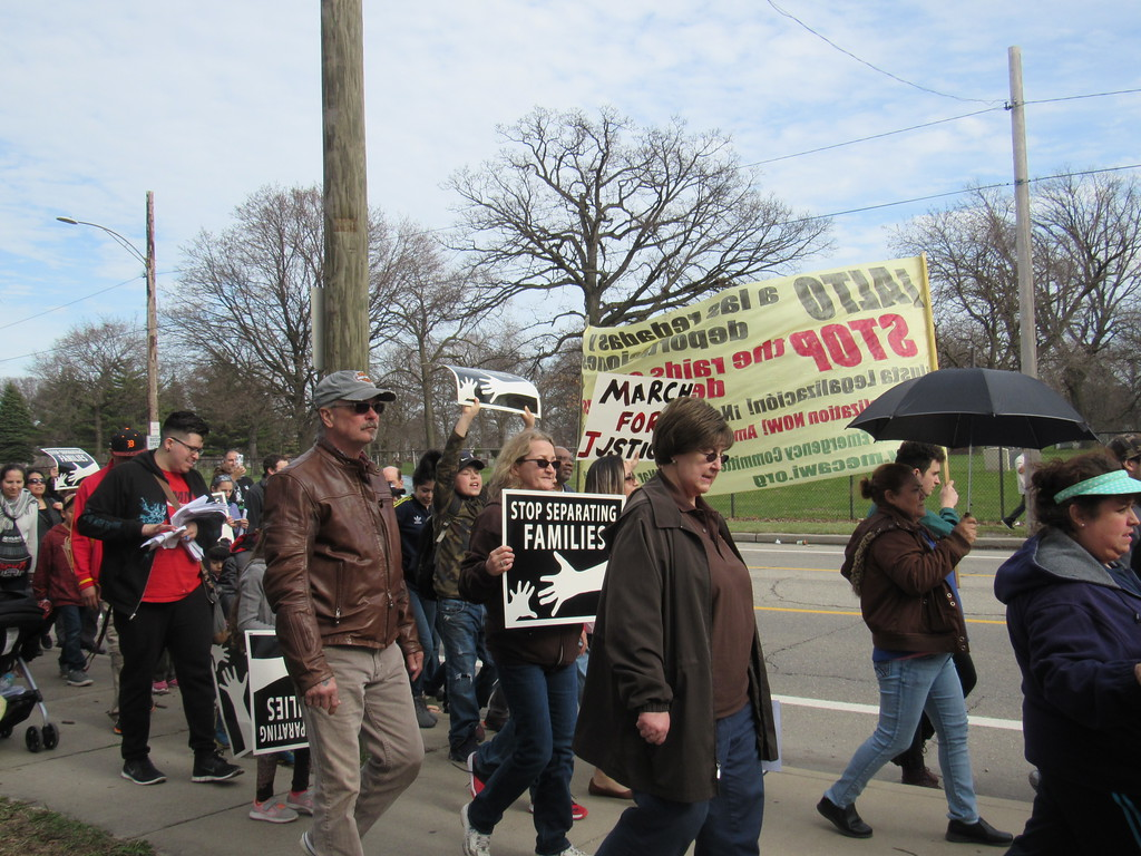 . At least 200 metro Detroiters walked in the Neighbors Building Bridges march Sunday, April 2. They began at St. Gabriel Catholic Church in Detroit and ended at the UAW Local 600 in Dearborn.