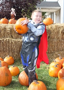 Joe Nabozney, 8, of Dearborn Heights, wore his Halloween costume to pick out a pumpkin Oct. 28 at the Dearborn Fire Safety House Pumpkin Patch.