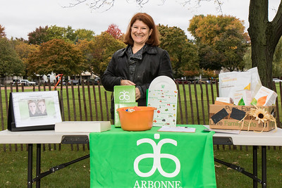 Cheryl Pozek was registering people for Arbonne's Adopt a Grandparent project. Photo by Debbie Malyn for the Press & Guide.