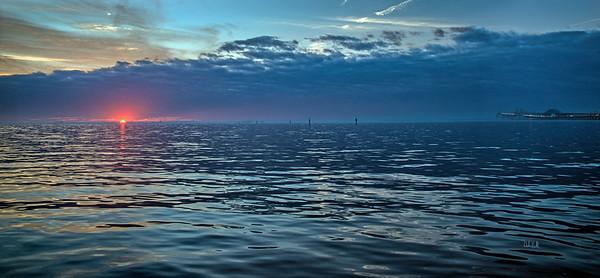 Magenta Sunset O'er Glassy Waters