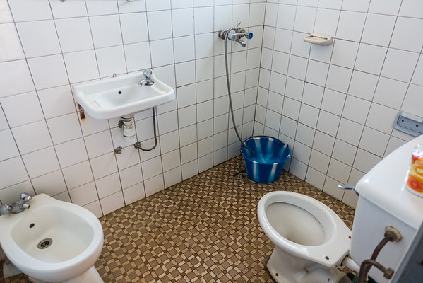 bathroom with no running water at Prestige Inn. Bangem, Southwest Region, Cameroon Africa