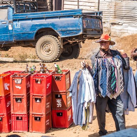 Albino tie seller. Bangem, Southwest Region, Cameroon Africa