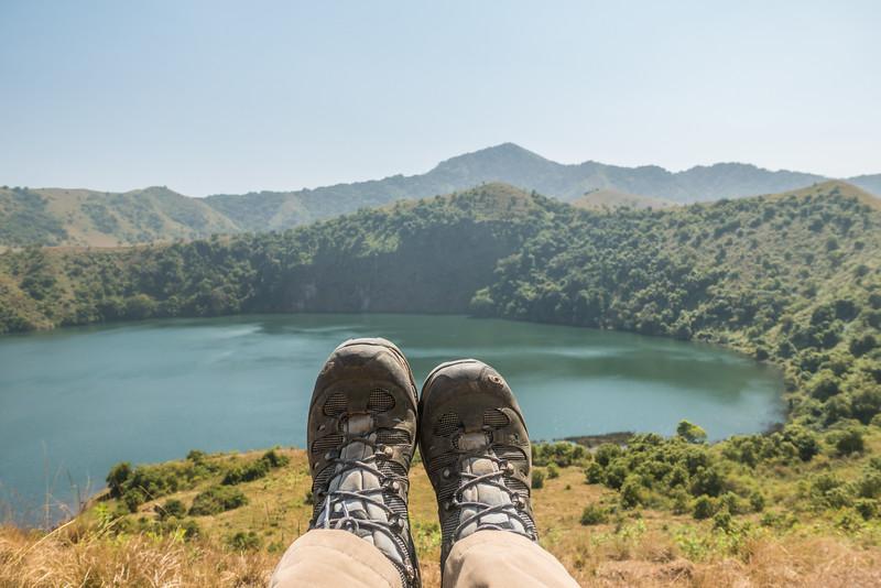 Salomon Quest 4D boots at the Mount Manengouba female lake, Littoral Region, Cameroon Africa