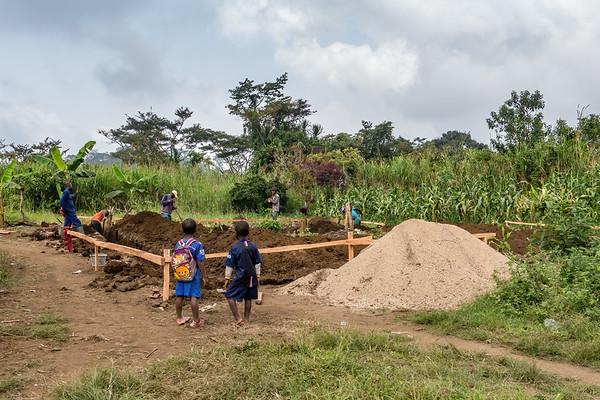 House foundation construction. Nyasoso, Southwest Region, Cameroon Africa