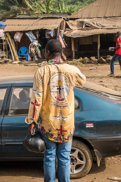 Ben wearing typical printed shirt. Tombel, Southwest Region, Cameroon Africa