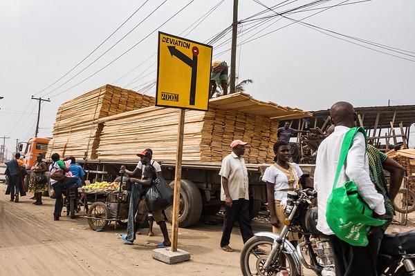 Lumber truck. Bonaberi, Littoral Region, Cameroon Africa
