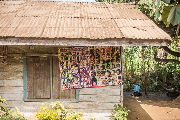 Poster of hair styles. Nyasoso, Southwest Region, Cameroon Africa