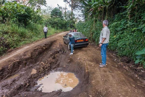 Road to Nyasoso from Tombel. Multiple stops to push vehicle. Nyasoso, Southwest Region, Cameroon Africa