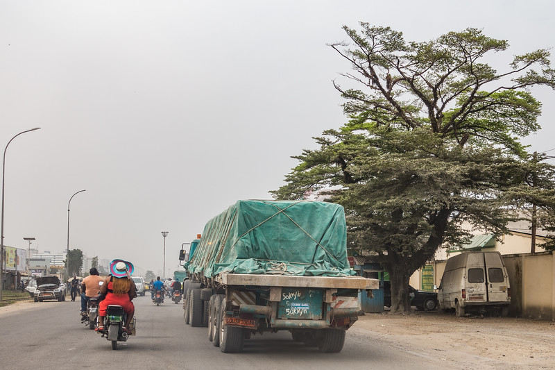 motorcycles and a Semi. Bonaberi, Littoral Region, Cameroon Africa