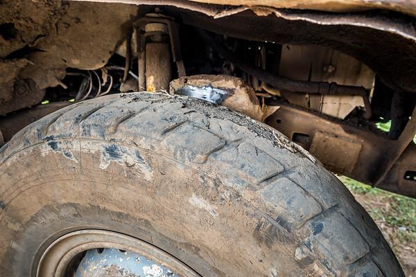 Typical bald tires. Toyota Landcruiser. Nyasoso, Southwest Region, Cameroon Africa