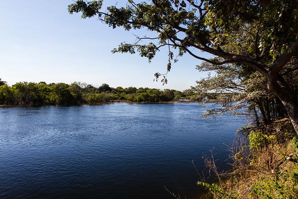 Zambezi River separating Namibia from Zambia. Namwei, Katima, Caprivi Namibia