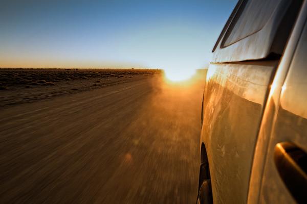 Rushing back to camp before the gate closes at sunset. Etosha N.P., Oshana Namibia