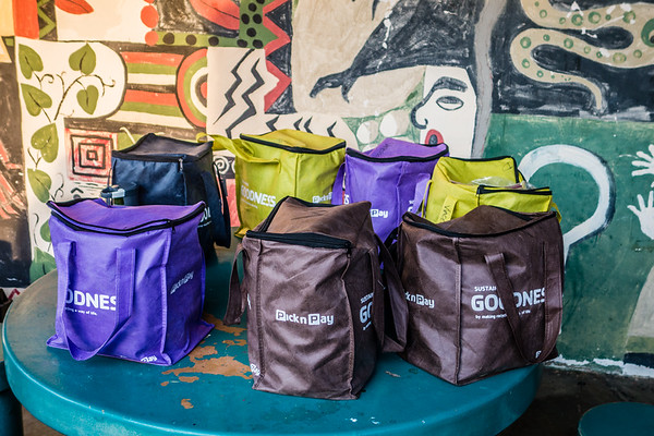 Pick-N-Pay student lunch bags. Gobabeb, Erongo Namibia Africa