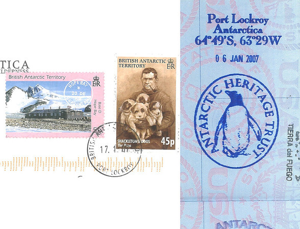 Postcard stamps and passport stamp from Port Lockeroy, Antarctica