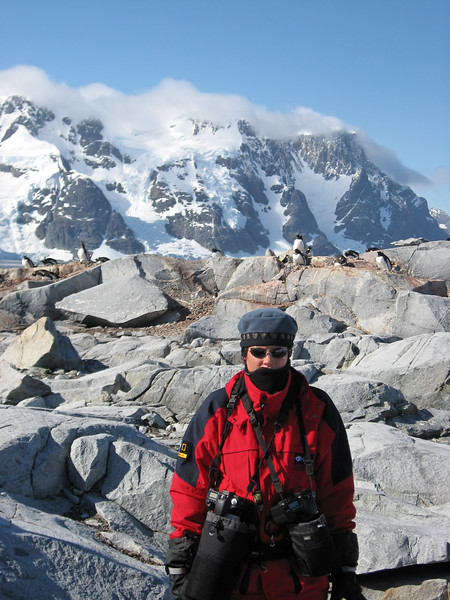 Margy Green & 13lbs of cameras. Pleneau Island Antarctica