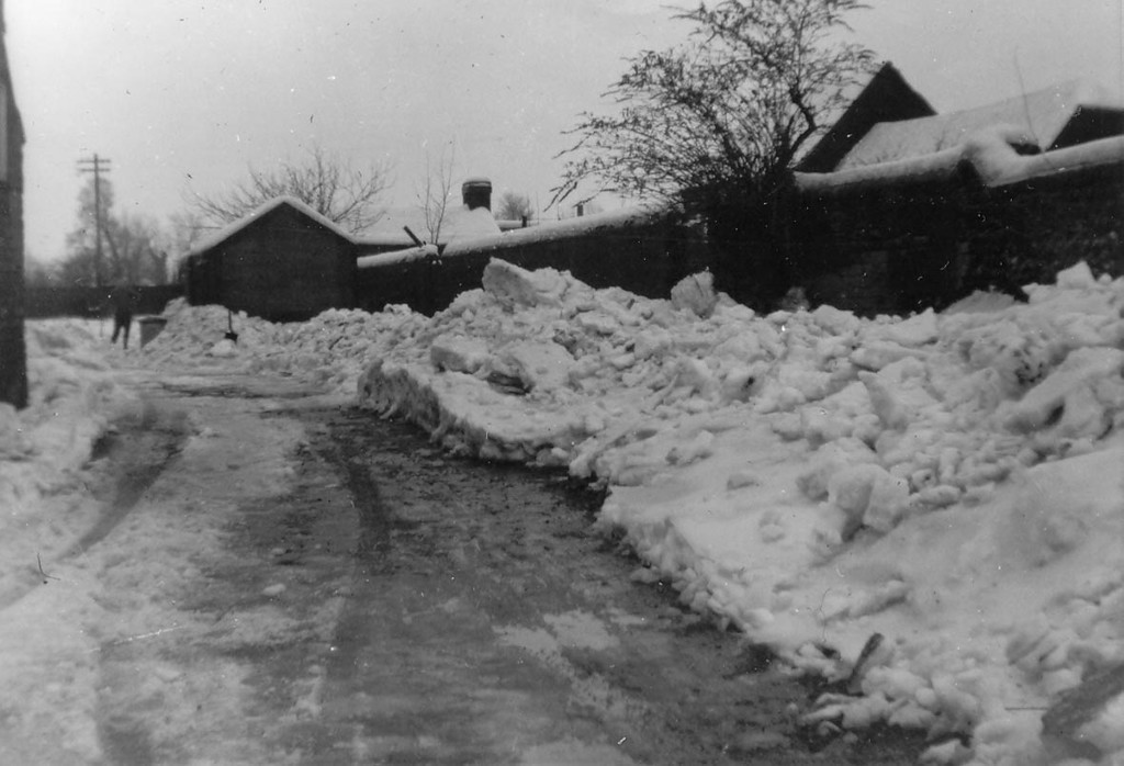 <font size=3><u> - Snowfall - 1950s </u></font> (BS0287)  Believed to be in the 1950s just before walnut tree was removed. The workshop roof is visible over the wall.