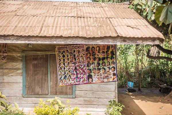 Poster of hair styles. Nyasoso, Southwest Region, Cameroon Africa