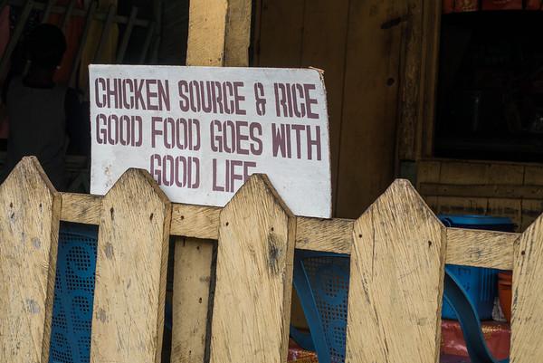 Chicken source & rice. Nyasoso, Southwest Region, Cameroon Africa