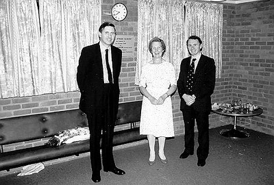"<font size=3><u> - Opening of Mill Stream Surgery - </u></font> (BS0545) 17 October 1986. Dr John Hasler (left) opening surgery with Drs Anne Millar and Peter Rose See ""Benson – A Century of Change"" pages 182"