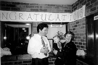 "<font size=3><u> - Mill Stream Surgery - </u></font> (BS0548) Dr Tim Wilson being congratulated on the ""Charter Mark"" award by patient Jenny Fitzgerald and her baby."