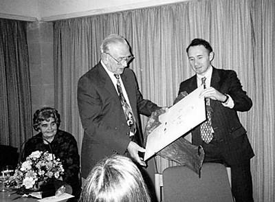 "<font size=3><u> - Millstream - Bert Rye's retirement - </u></font> (BS0532) Peter Rose making the presentation.  See Chapter 8 of ""Benson – A Century of Change"""