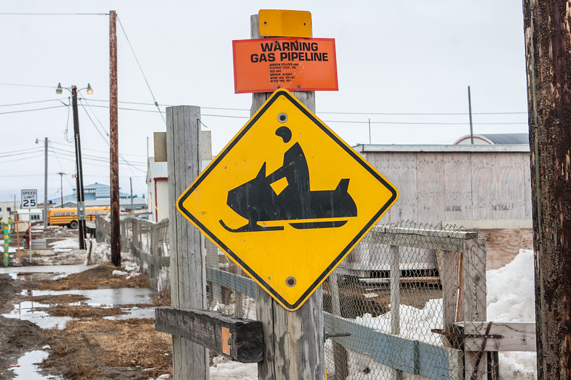 Snow Mobile Crossing sign. Barrow Alaska USA