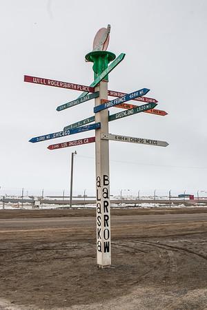 Barrow Geographical Locations Sign. Barrow Alaska USA
