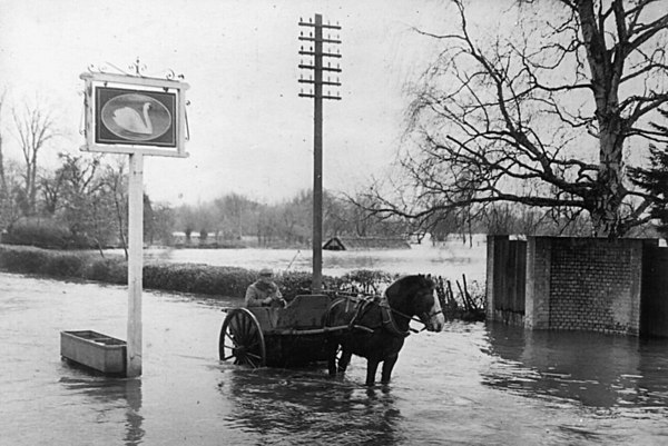 <font size=3><u> - Floods Swan Inn - </u></font> (BS0223)  Cart driven by Harry Bagley who collected pigswell.  Year 1947.