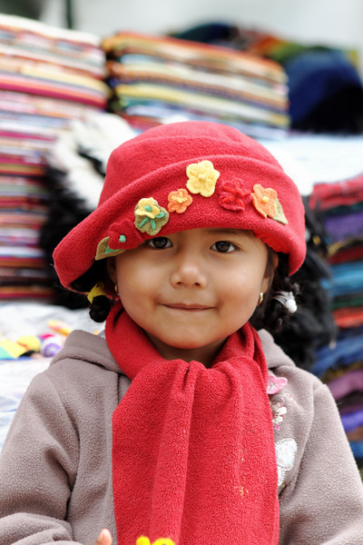 little girl at craft fair. Quito Ecuador