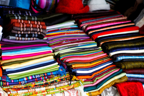 colerful wool scarves and table cloths. Quito Ecuador