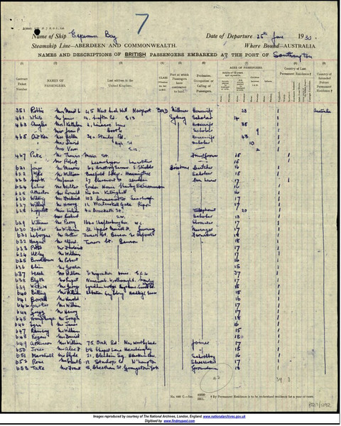 - Turner's Court - 1930<br /> (BS1434)<br /> <br /> Part of the Passenger List of the SS Esperance Bay in June 1930. Featuring the six boys on BS0884.