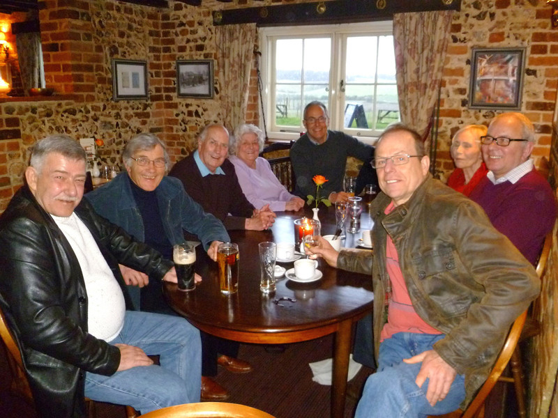 "<font size=3><u> - Turner's Court reunion - February 2014 </u></font> (BS1440)  Bob Blackburn (ex Staff) writes ""Seated round the table left to right are:- Frank Giles, Maurice Elvin, Bob and Mrs Eileen Blackburn, John Piasecki, Mrs Jo Elvin, John Glavey and Colin Mitchell.  Hidden behind Colin in John Piasecki's partner. The 'boys' from TC were the ones who were organising the get-together among themselves and we (ex-staff) noticed the plan on the web site and decided to gate crash, then we found out that it was likely to be cancelled so had to put a message on the site and spoilt the surprise.   Nevertheless it was a great meeting, arrived at 12 o'clock and left at 4.30 to go for a drive around the old site of Turners Court.    Residential work with children and young people was that you rarely found out how they managed in later life, you just hope that you had set a good example that they could follow. To meet up the the three 'Boys' after 40 years was an absolute privilege and delight."""