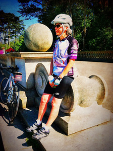Vero at mile 21 rest stop Golden Gate Park. 4 more miles uphill to home.