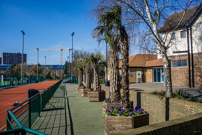 Athletics track and cricket pavilion