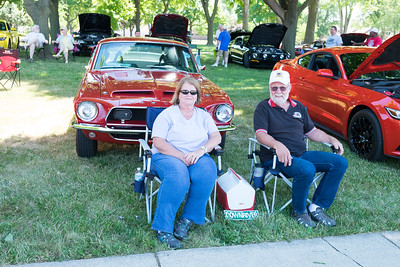 "The Mustang Owner's Club of Southeast Michigan gathered for ""Ponies in the Park"" at the Kennedy Senior Center in Lincoln Park. Ken and Ann Rutkowski of Wyandotte take shade under a tree in front of their '68 Shelby GT500 KR. Hundreds of classic cars took to Fort Street for the 17th Annual Cruisin' Downriver Saturday, from Sibley Road in Riverview to Warwick in Lincoln Park. Photos by Matt Thompson, Copyright 2016 The News-Herald"